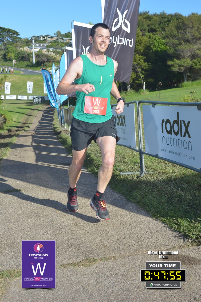Arriving at the finish line of the 2017 Waiheke 10km race.