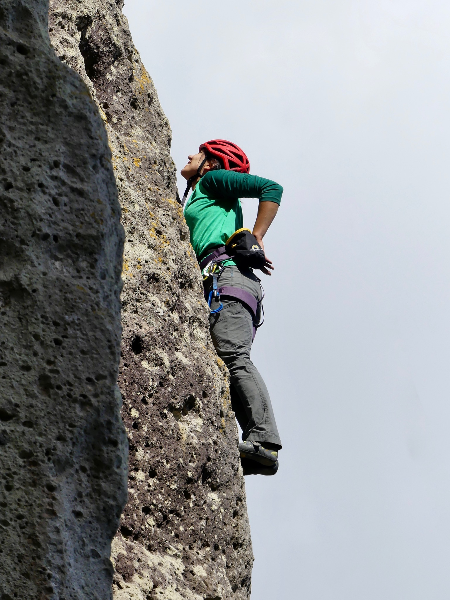 Alex on the arete of Bonne Annee (16)