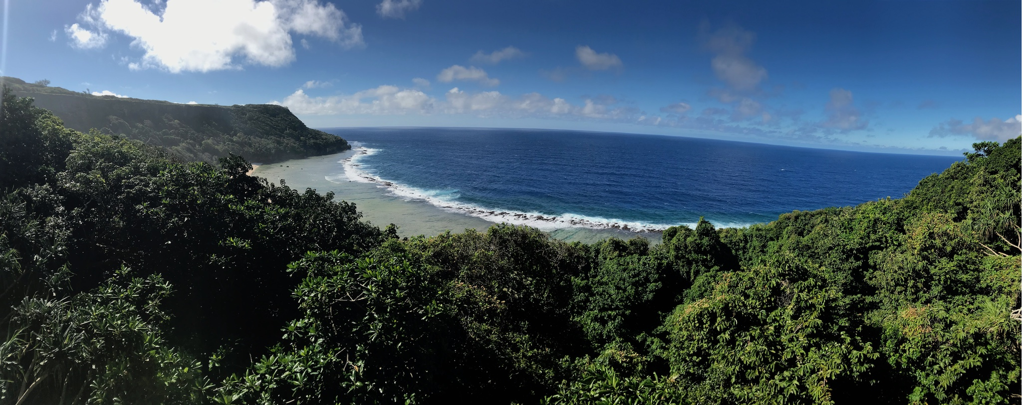 View from the top of the Access Pitch on the Whale wall above Fangatave Beach, Eua island, Tonga.